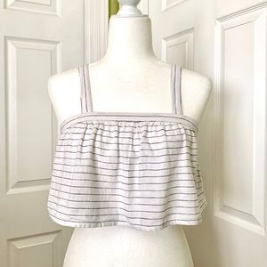 Blue and white stripe crop top. Xs